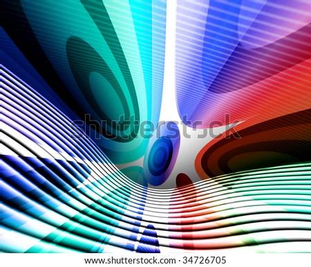 Colorful Retro Wavy Circles - stock photo