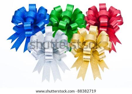 colorful ribbon bow isolated on white background - stock photo