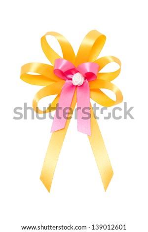 Colorful ribbon isolated on white. - stock photo