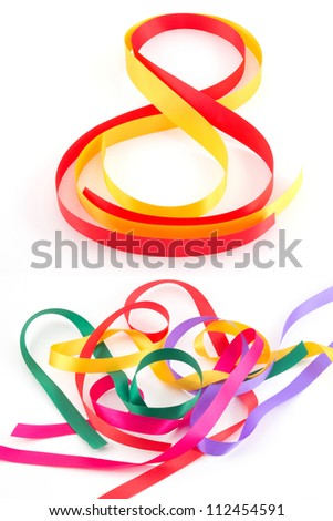 Colorful ribbon isolated on white background