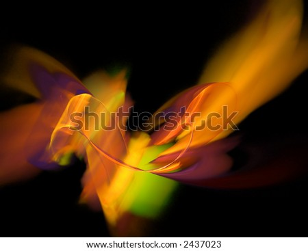 Colorful Ribbon Nebula in Deep Space - stock photo