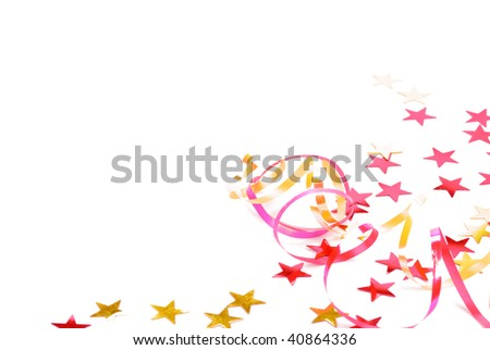 Colorful ribbons and confetti on the white background - stock photo