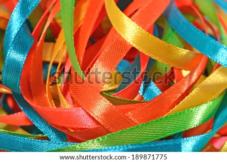 Colorful ribbons close up selective focus