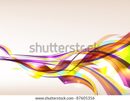 Colorful ribbons flowing - stock photo