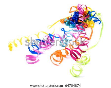 Colorful ribbons on white background - stock photo