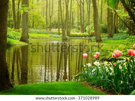 Colorful river landscape  in spring dutch garden Keukenhof, Netherlands, toned - stock photo
