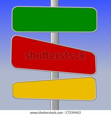 Set Rectangular Signs Green Blue Red Stock Vector