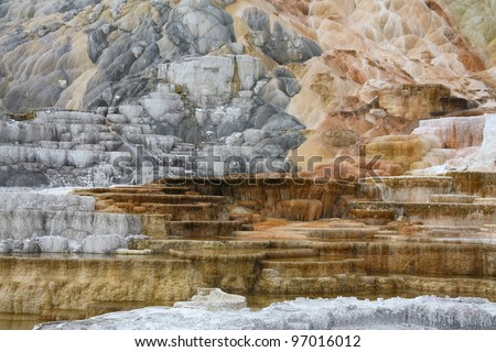 Colorful rock near mammoth geyser in yellowstone national park - stock photo