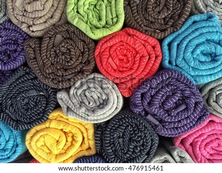 colorful rolled cotton clothes