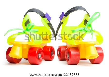 Colorful roller skate isolated on white - stock photo