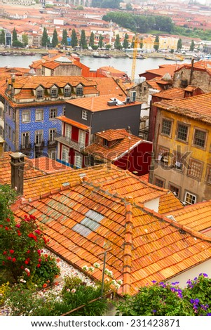 colorful roofs of houses in old town, Porto, Portugal - stock photo