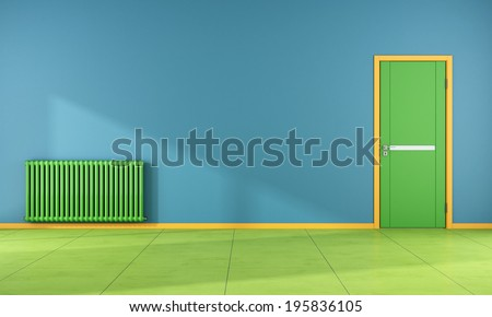 Colorful room with green door and radiator - rendering - stock photo
