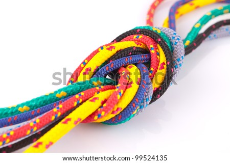 colorful ropes eight knot - stock photo