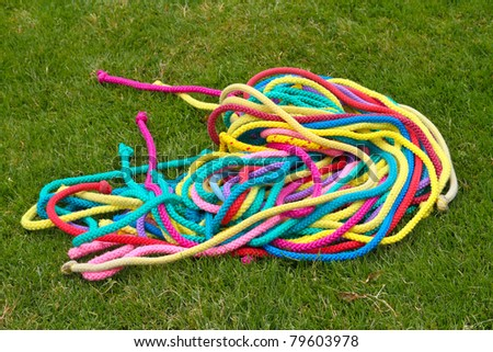 colorful ropes in grass