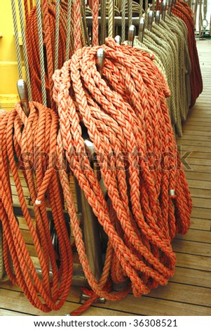colorful ropes on ship
