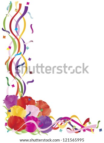 Colorful Roses Bouquet in Confetti Border for Valentines Wedding Anniversary Mothers Day Illustration on White Background Raster Vector - stock photo