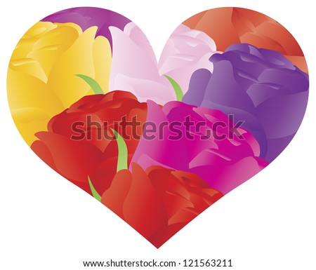 Colorful Roses Bouquet in Heart Shape Outline for Valentines Wedding Anniversary Mothers Day Illustration on White Background Raster Vector - stock photo