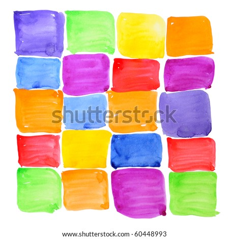 Colorful rough paint samples grid. Squared rainbow checker. Abstract background. Handmade on paper.