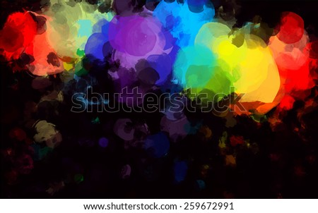 Colorful round brush strokes on black background. Raster version - stock photo