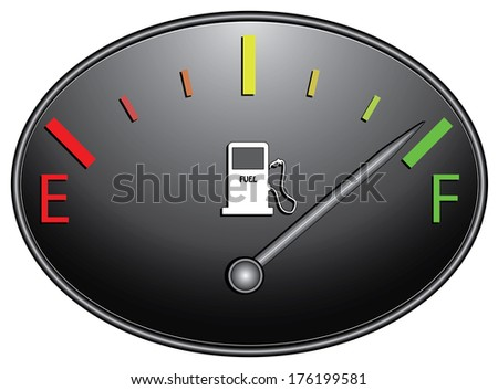 Colorful round fuel gauge design.