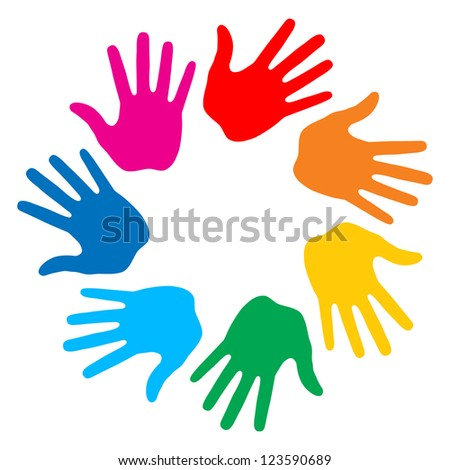 Colorful round hands icon