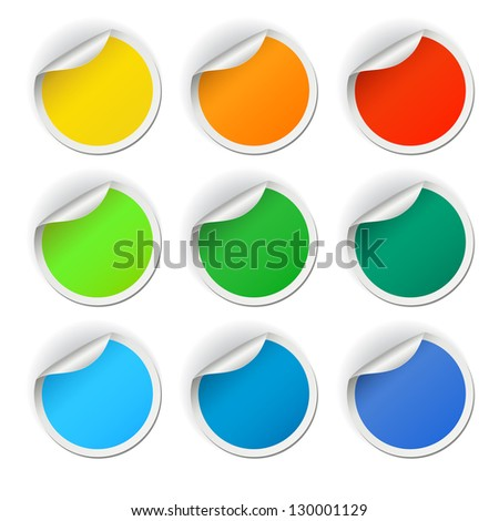Colorful round stickers set, raster version - stock photo