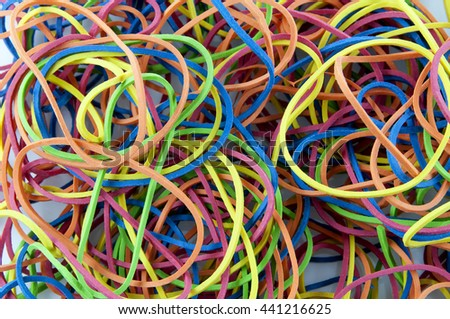 Colorful rubber bands, background