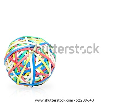 Colorful rubber bands ball over white background with reflection - stock photo