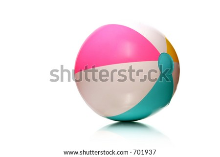 colorful rubber beach ball on white with copy space - stock photo