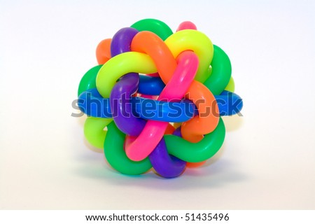 colorful rubber knot ball - stock photo