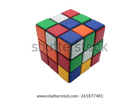 Colorful Rubik's Cube isolated on white background, magic cube - stock photo
