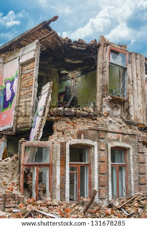 Colorful ruin - desolate ancient residence. - stock photo