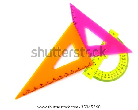 colorful rulers set on white - stock photo