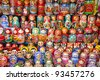 Colorful Russian nesting dolls at the market. - stock photo