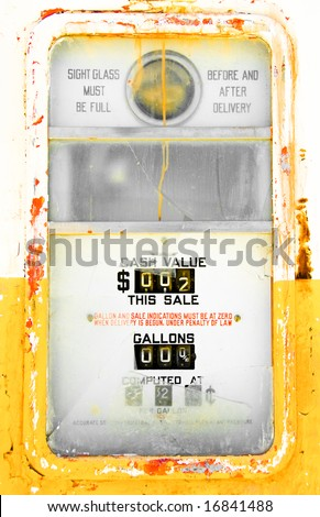 Colorful, Rusted and Vintage Gas Pump - stock photo