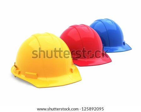 Colorful Safety Helmet (isolated on white and clipping path) - stock photo