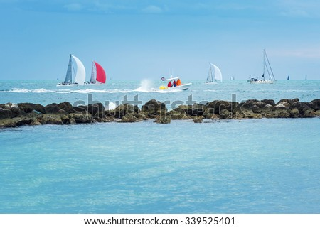 Colorful sailing boats on the sea. Panoramic view. Florida Keys, USA - stock photo