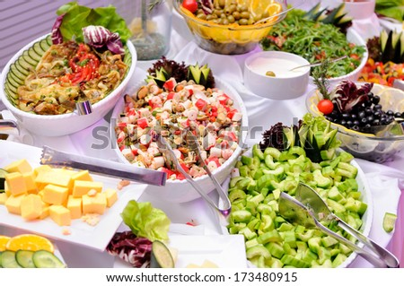 Colorful salads on the party - stock photo