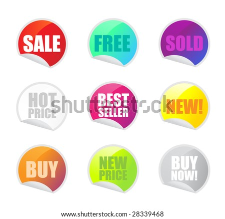 colorful sale stickers on white background