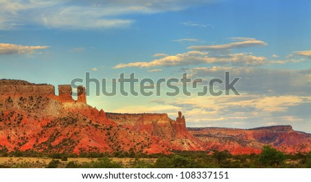 Colorful sandstone at sunset in Georgia O'Keefe country, Abiquiu, New Mexico - stock photo