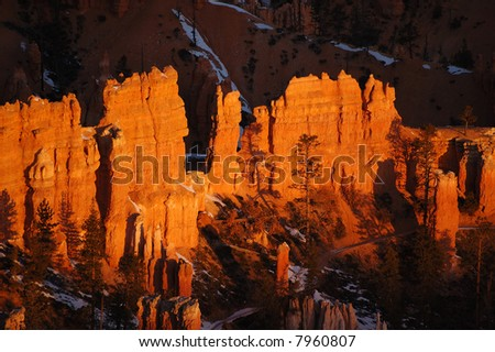 Colorful sandstone spires, Bryce Canyon National Park, Utah - stock photo