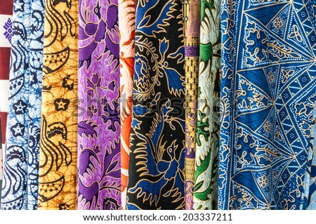 Colorful sarongs (balinese cloth), Bali, Indonesia - stock photo