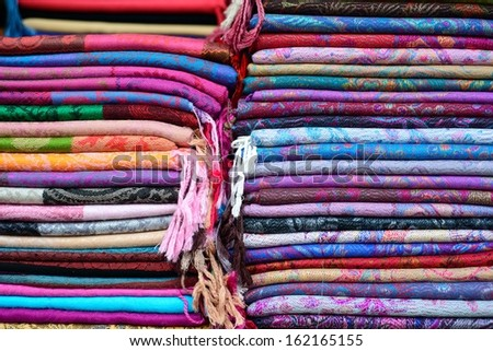Colorful scarfs in Tel Aviv Flee market
