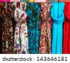 Colorful scarves at a market in India. Colors of textiles. - stock photo