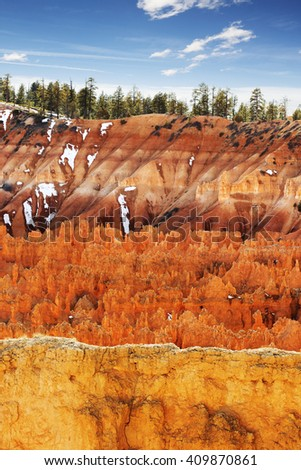 colorful scenes in the Bryce Canyon landscape - stock photo