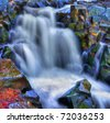 Colorful scenic river waterfall in HDR and slow shutter. - stock photo