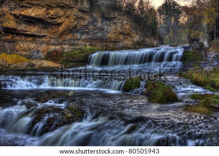 Colorful scenic waterfall in High Dynamic Range.