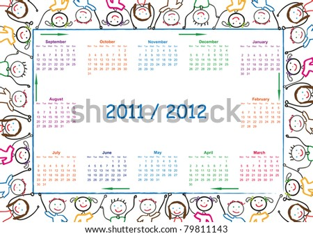 Colorful school calendar on new year school from 2011 to 2012 year - stock photo