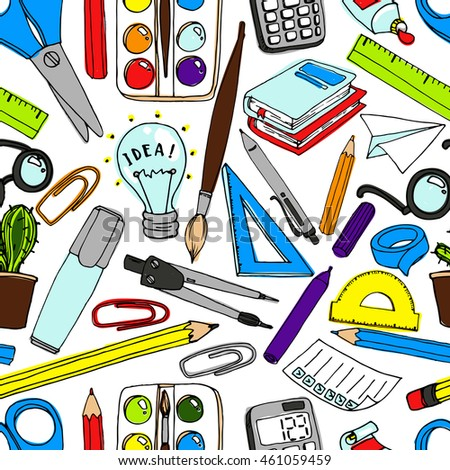 Colorful school  pattern. Seamless texture with pencils, books, chalkboard and different objects.  Doodle elements. Back to school background. Hand drawn sketch.