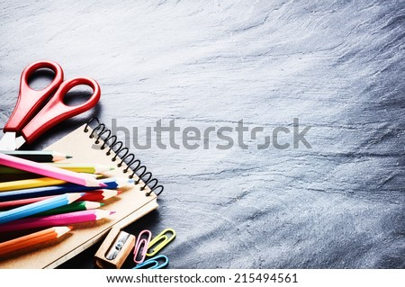 Colorful school supplies. Back to school concept with copyspace - stock photo